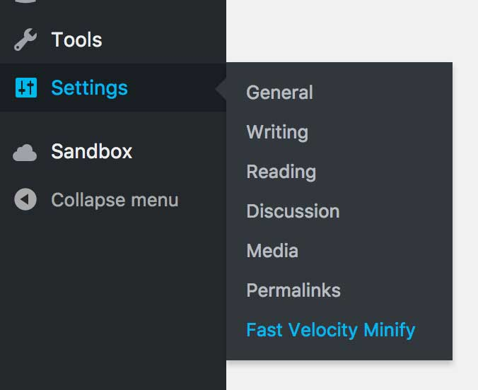 WP Setting Menu to Minify