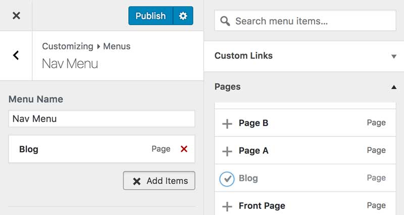 Add Blot Page in WordPress Menu