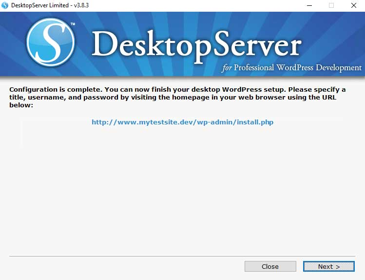 DesktopServer: Configuration is Complete