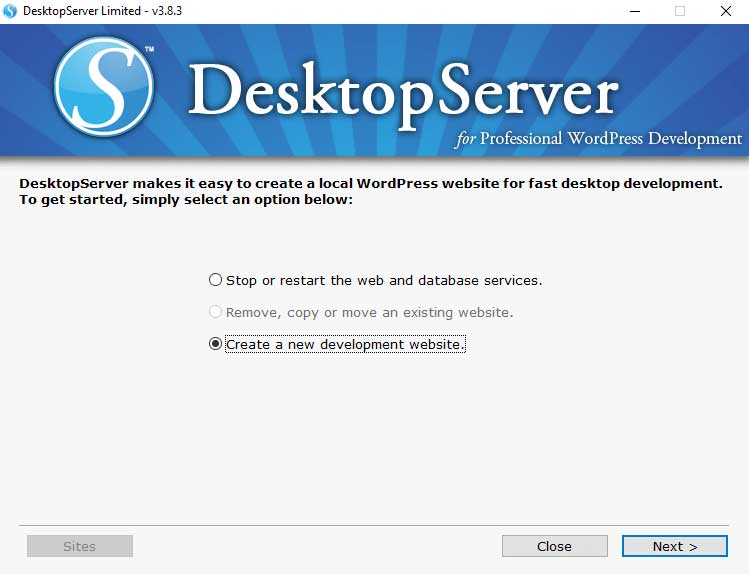 DesktopServer: Create New Site