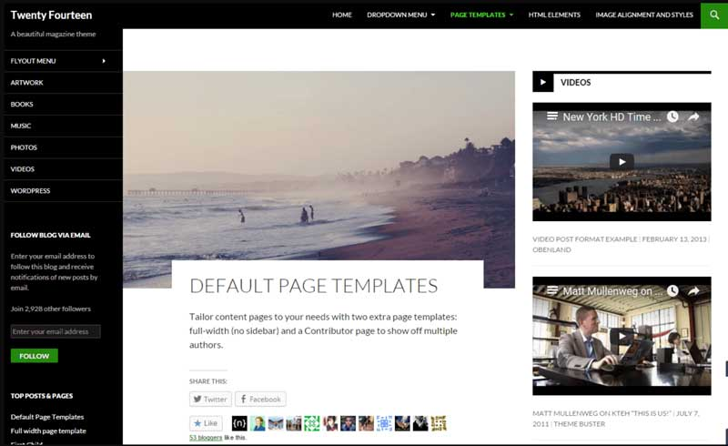 WordPress Default Page Templates