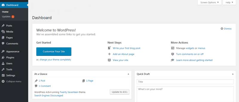 WordPress New Dashboard after install