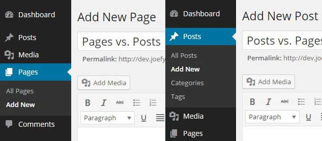 WordPress Pages Vs WordPress Posts