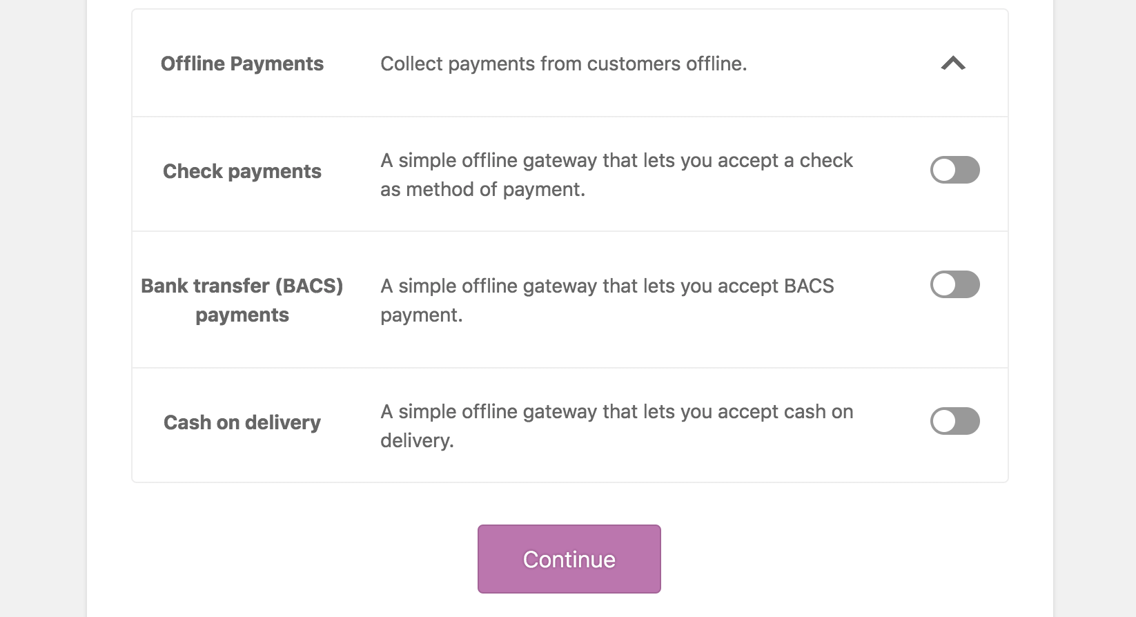 WooCommerce Payment Settings