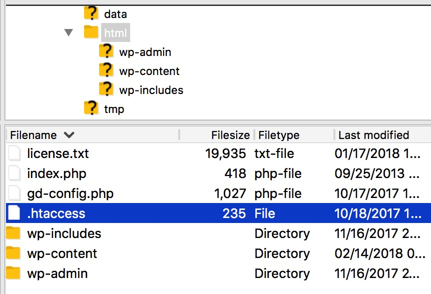 WordPress Directory htaccess file