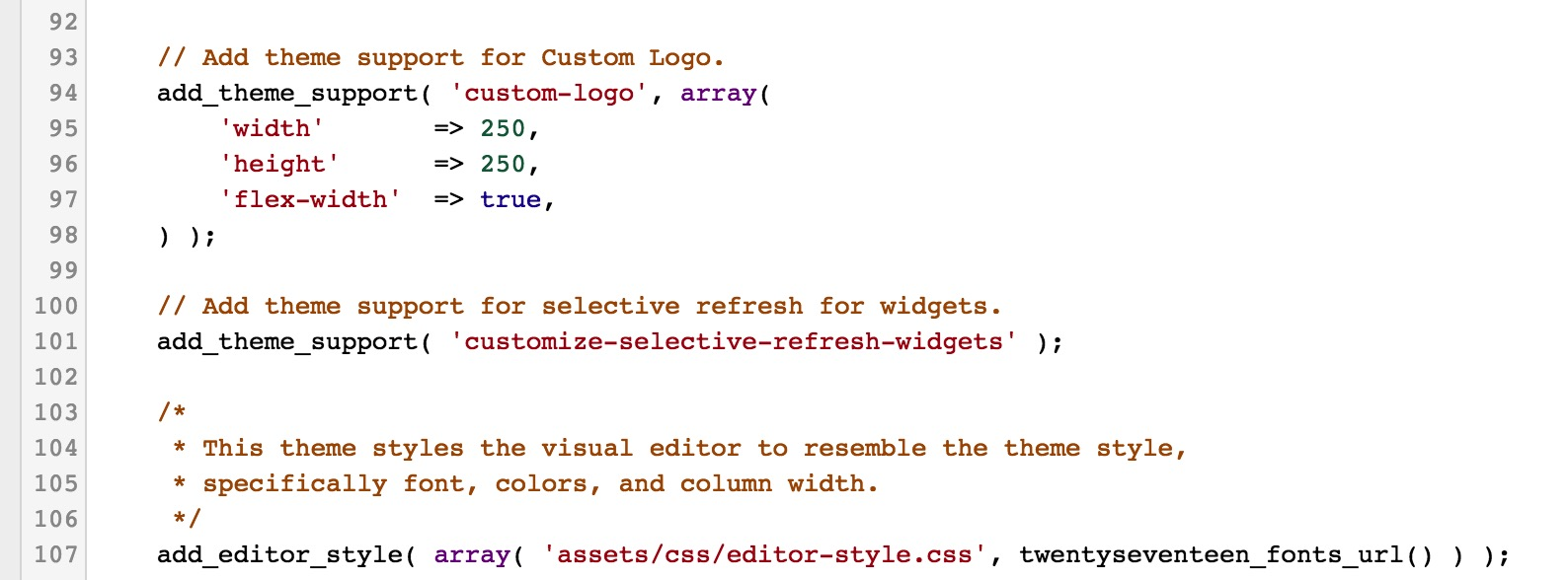 WordPress Functions Theme Support
