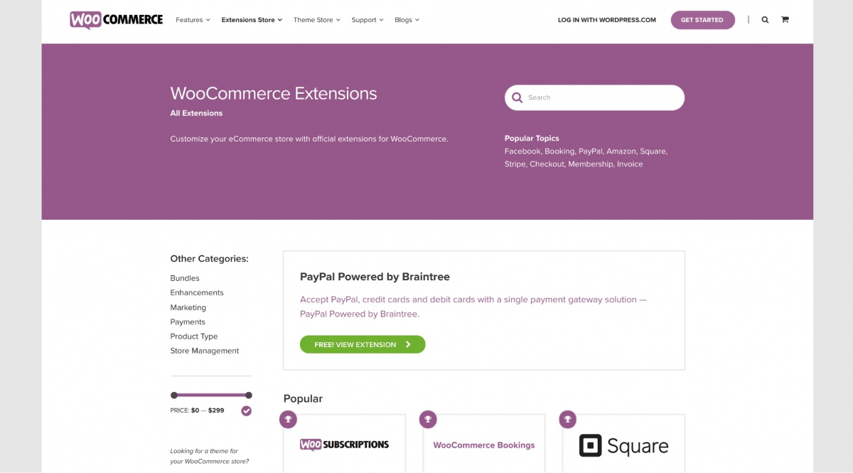 WooCommerce extensions page