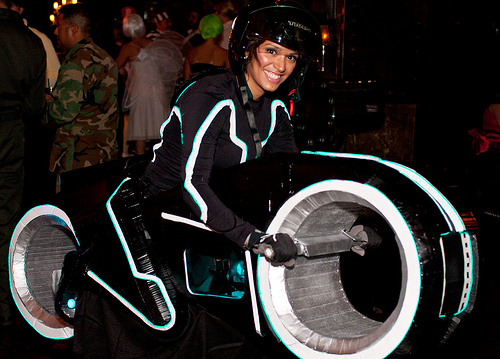 A Tron Lightcycle!  With spinning motor and lightwire highlights.