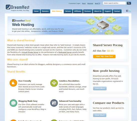 Shared Web Hosting.  The gateway drug of the hosting world.