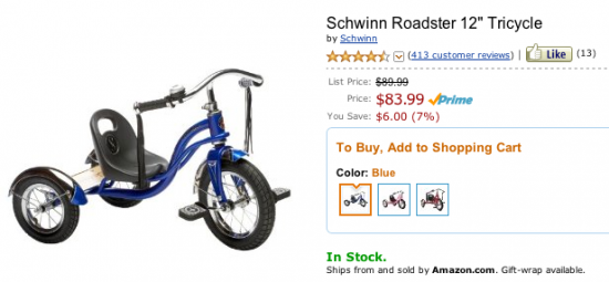 Schwinn Roadster Tricycle Product Page