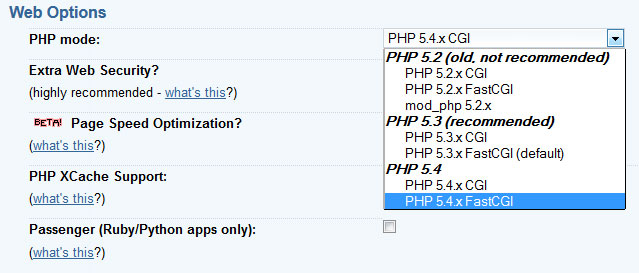 Select your PHP version