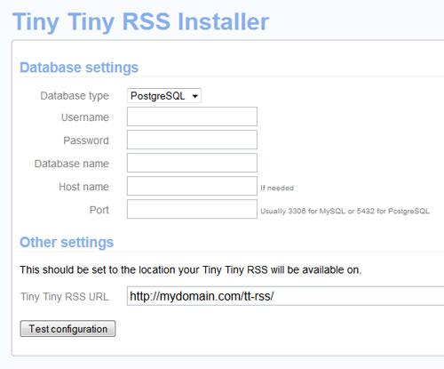 TT-RSS installer - empty
