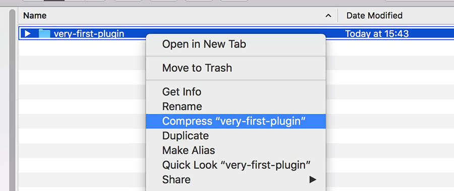 "FTP example, right-click ""compress 'very-first-plugin'"""