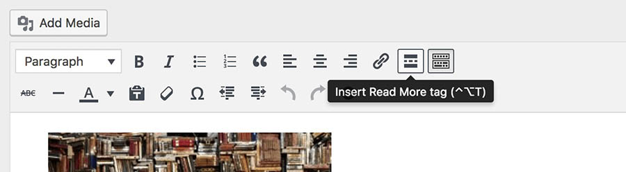 wordpress post dashboard view 'insert read more tag'