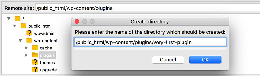 filezilla ftp example directory 'very-first-plugin'