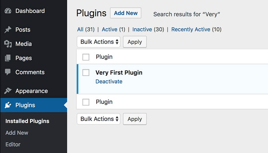 wordpress dashboard plugin menu
