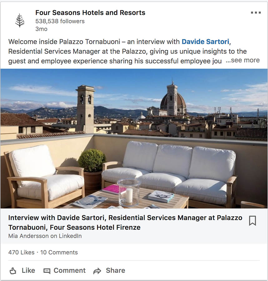 Four Seasons Hotels and Resorts on LinkedIn.