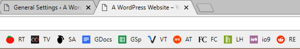 A WordPress website in a browser tab.