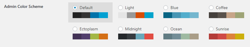 The WordPress admin color scheme options.