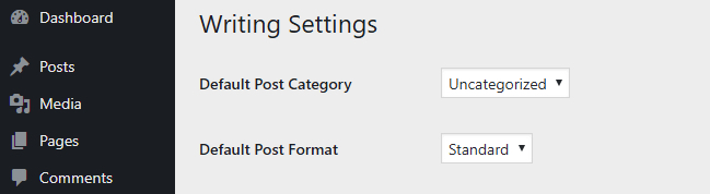 The WordPress Writing Settings tab.