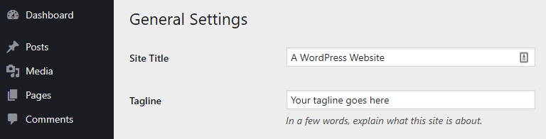 The WordPress General settings tab.