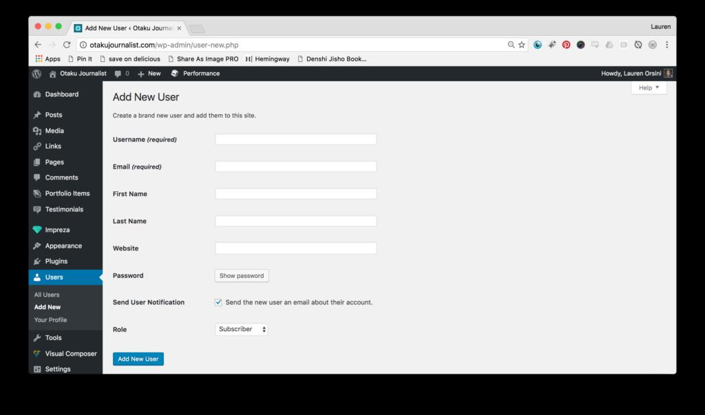WP - Add New User Screen