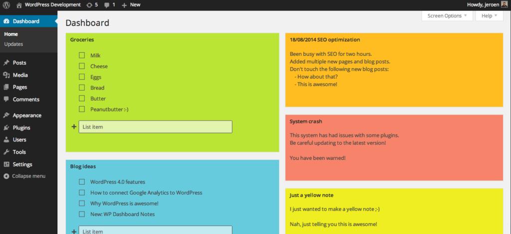 WP - Dashboard Notes