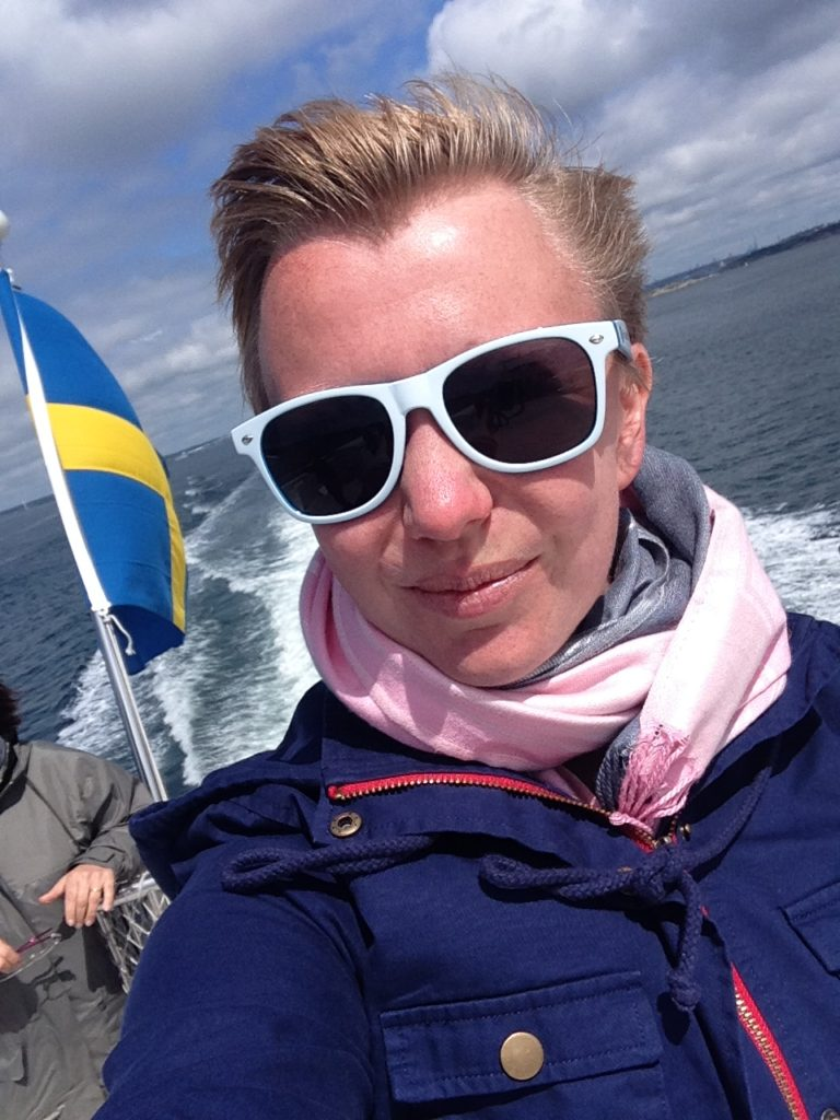 selfie of woman with swedish flag