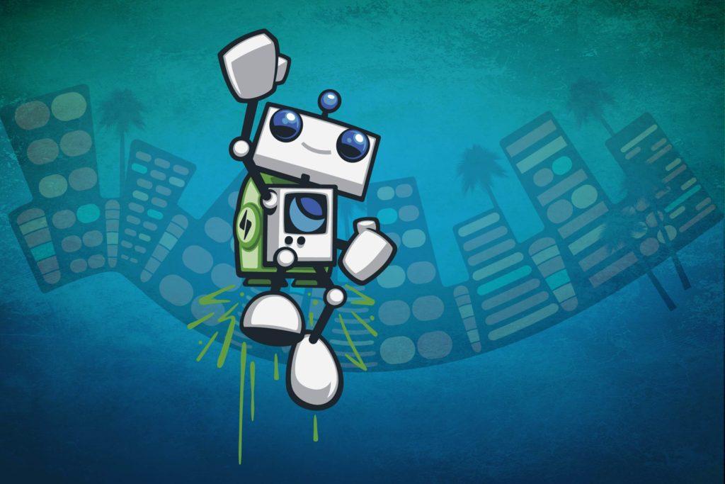 DreamHost robot jetpack illustration