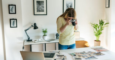 photographer capturing her work process