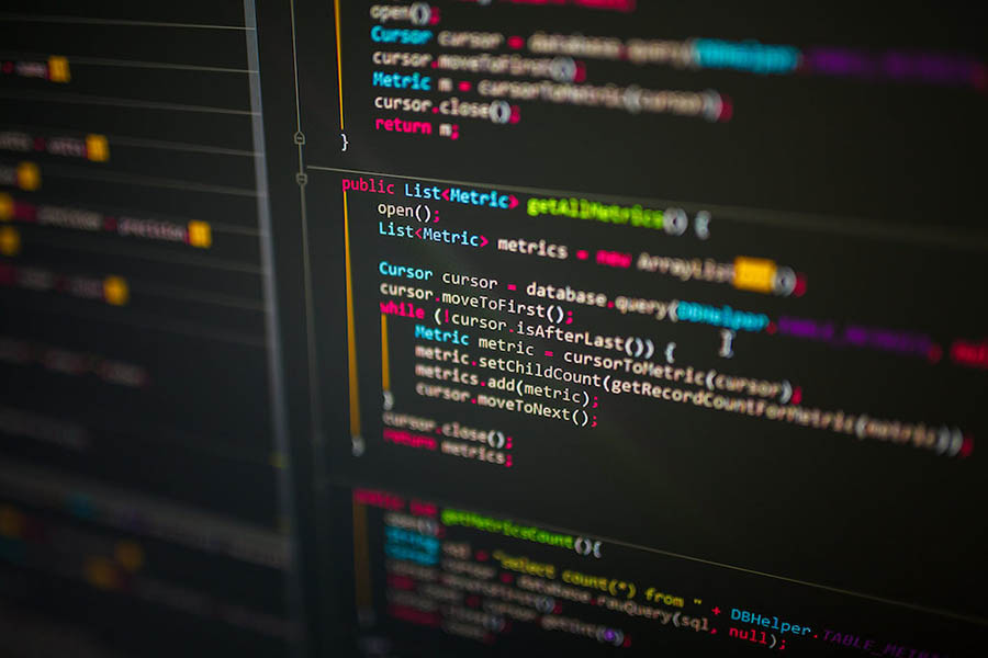 Lines of code on computer screen