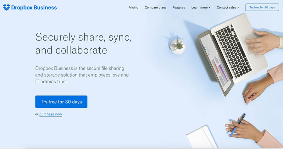 dropbox business home page