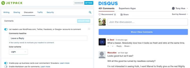 jetpack vs disqus commenting plugins