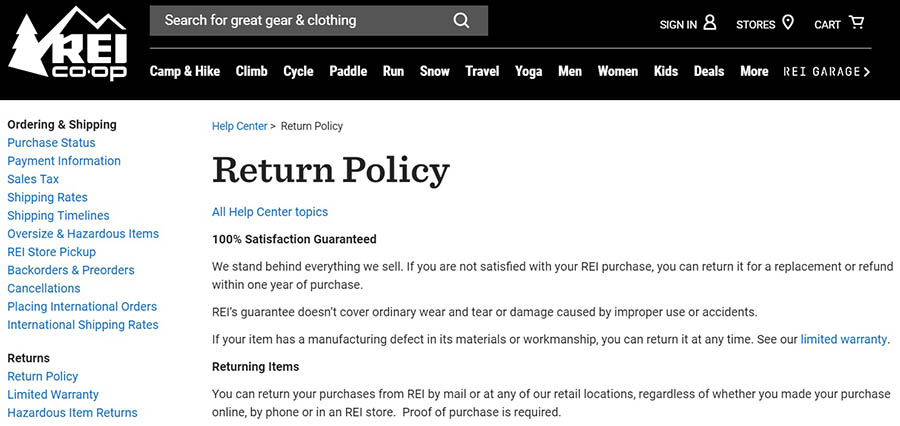 REI's return policy.