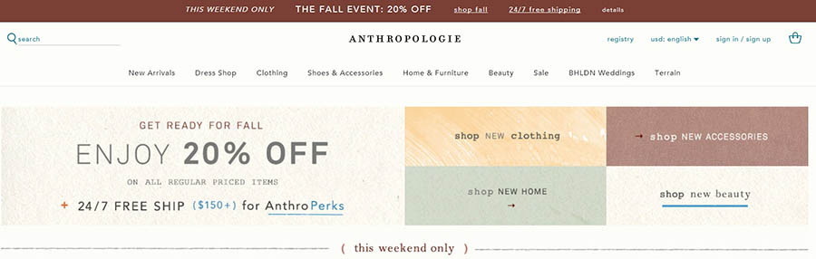 Anthropologie website homepage showing discounts.