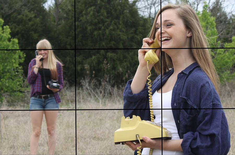 Rule of thirds example two women on the phone