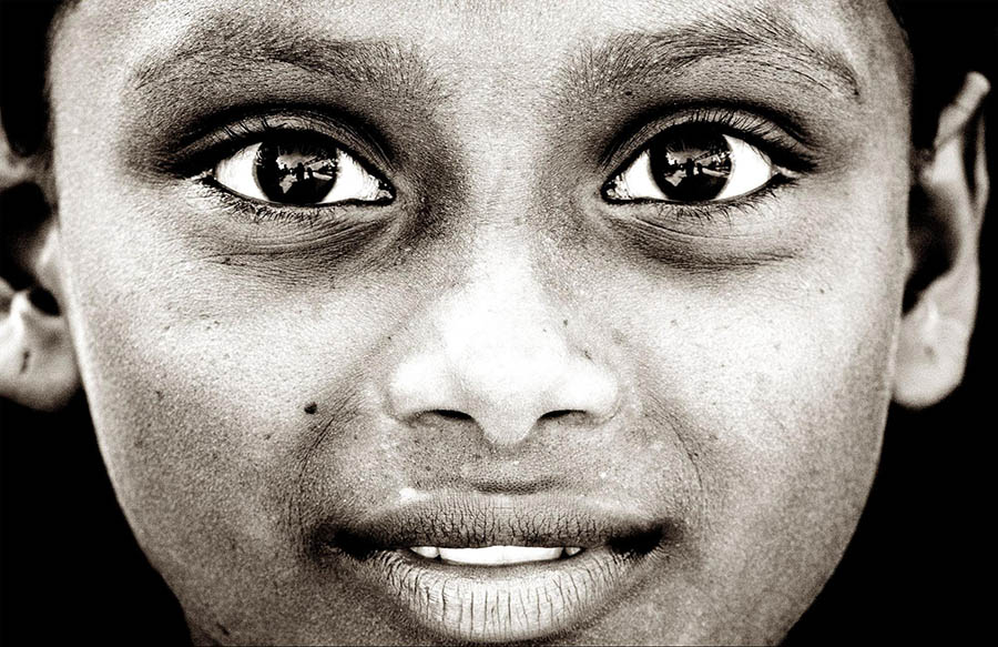 Child's photo in grayscale