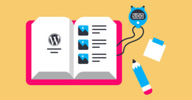 illustration: book open with wordpress logo on one page, illustrated photos on the other, stopwatch and pencil next to book