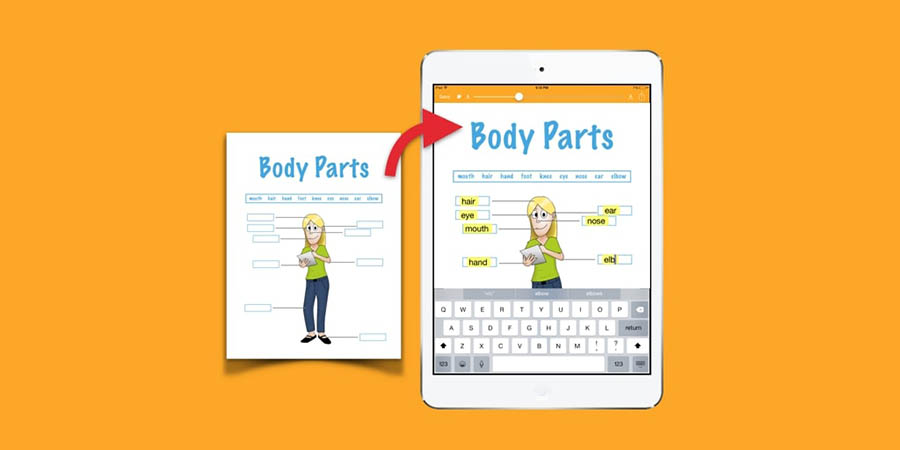 screenshot of snaptype illustration 'body parts'
