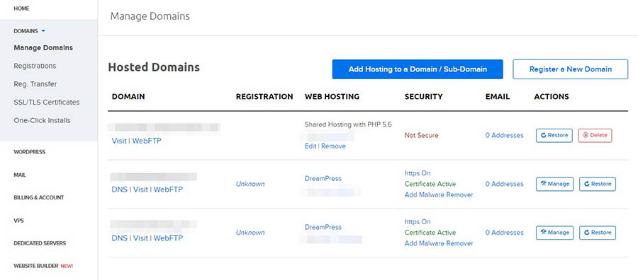 DreamHost control panel: Manage Domains