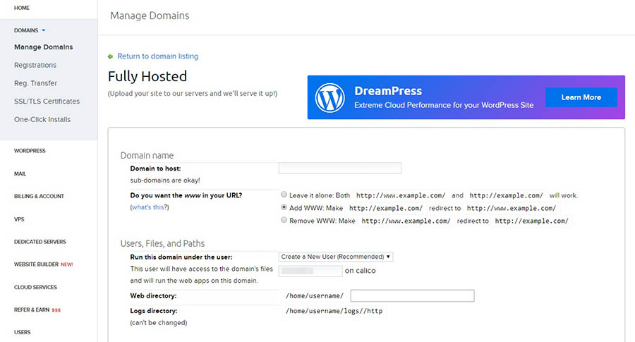 DreamHost control panel: Fully Hosted