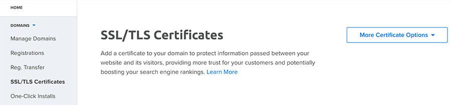 Navigate to SSL/TLS Certificates