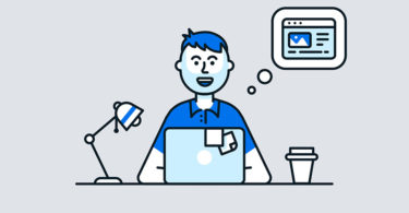 illustrated hero image man sitting at desk with laptop