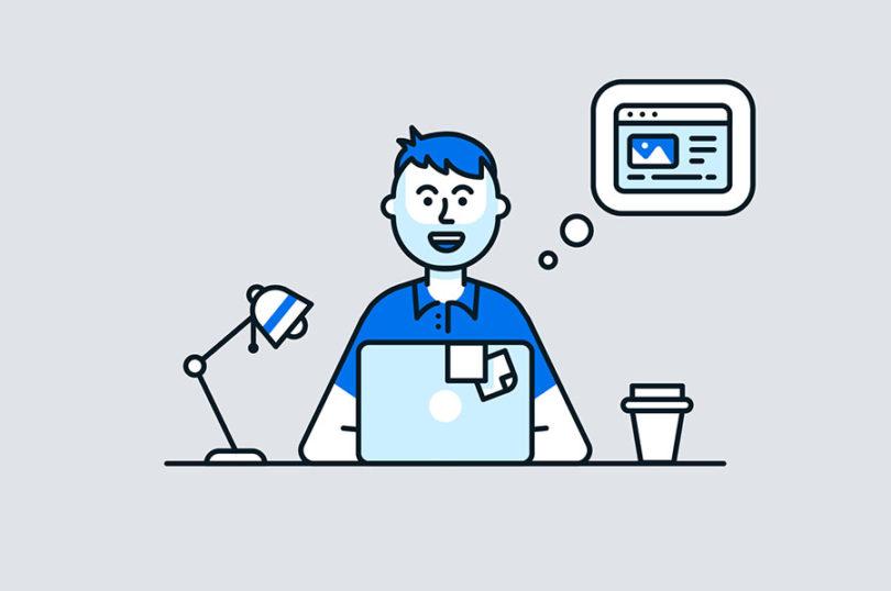 illustrated hero image man sitting at desk with laptop