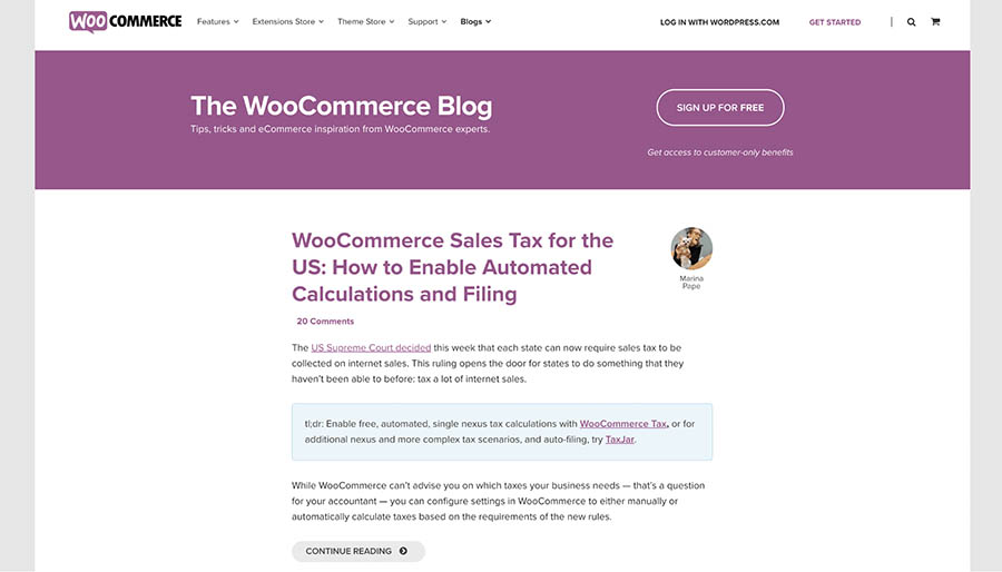 woocommerce blog homepage