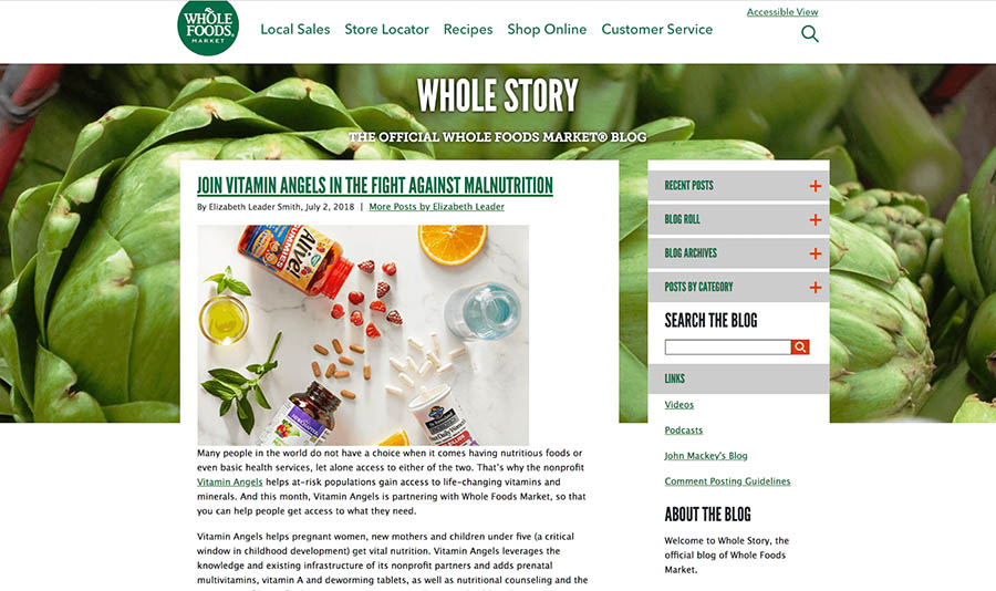 whole foods 'whole story' blog homepage
