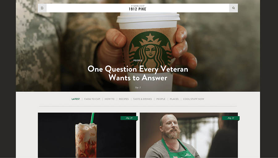 starbucks.com blog home page