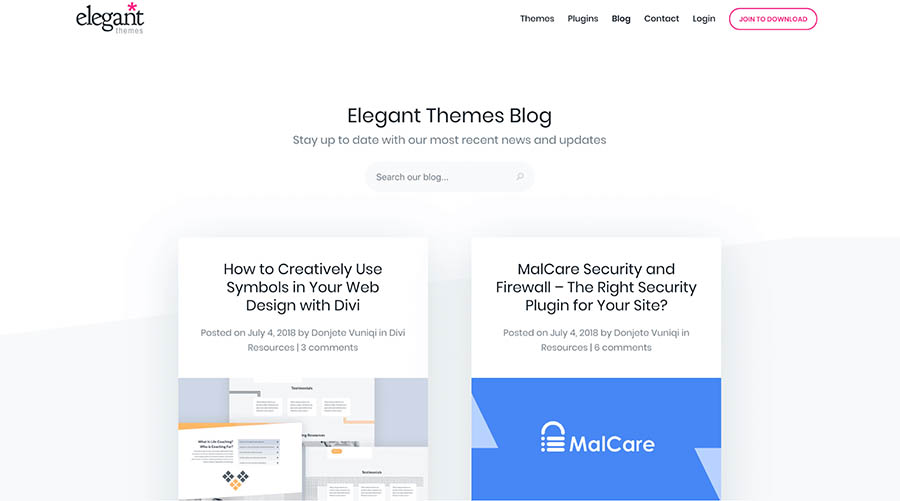 elegant themes blog home page