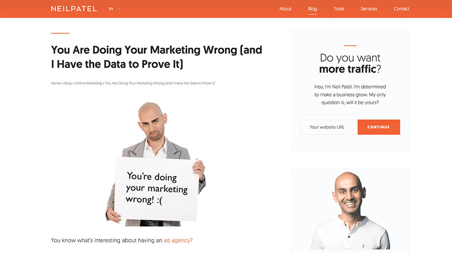neil patel marketing industry blog post