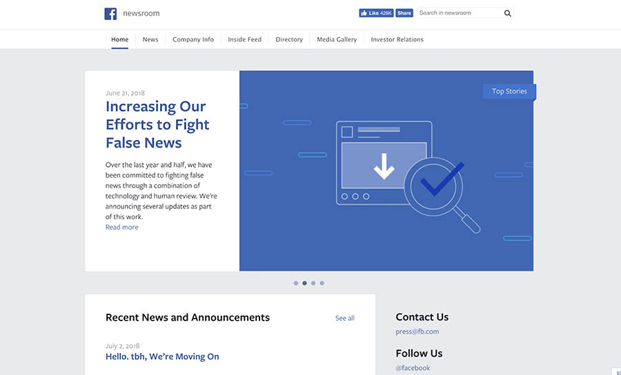 facebook newsroom blog home page